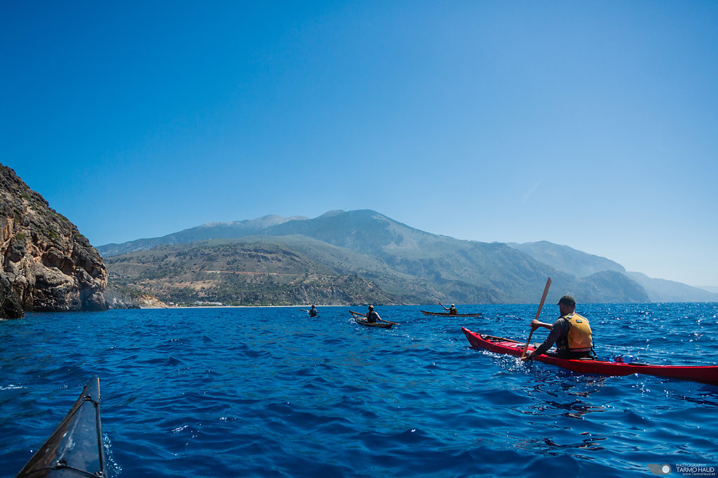 Kayaking in Crete, Greece.