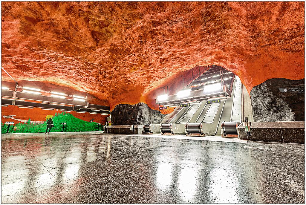 Metro station in Stockholm, Sweden.